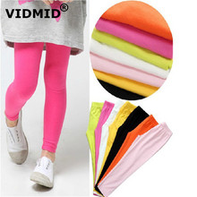 VIDMID spring Kids Baby girls Long Pants Girls Trousers candy colors leggings girls Leggings children Girls For 2-10Y 7096 25 cheap COTTON Solid Full Length Pencil Pants 2t-10t REGULAR Elastic Waist NONE Fits true to size take your normal size