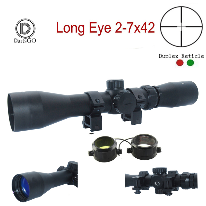 US  For Rifle 2-7x32 Duplex Crosshair Long Hunting Eye Relief Scope Sight