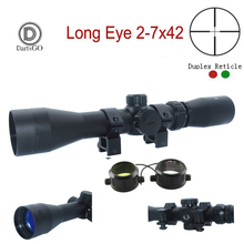 DDartsGO Outdoor Hunting 2-7x42 Long Eye Relief Scope RED/GREEN Illuminated Dupl