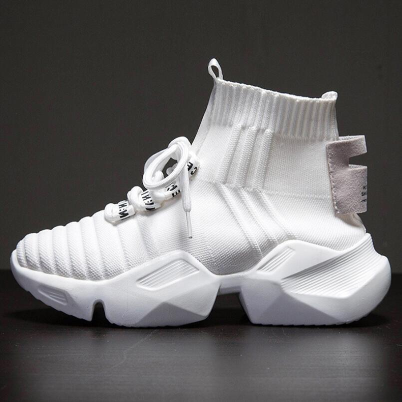 Mhysa 2019 Autumn New High-top Platform Sneakers Women Knitted Casual Shoes Woman Sneakers Air Mesh Chunky Trainers Dad Shoes