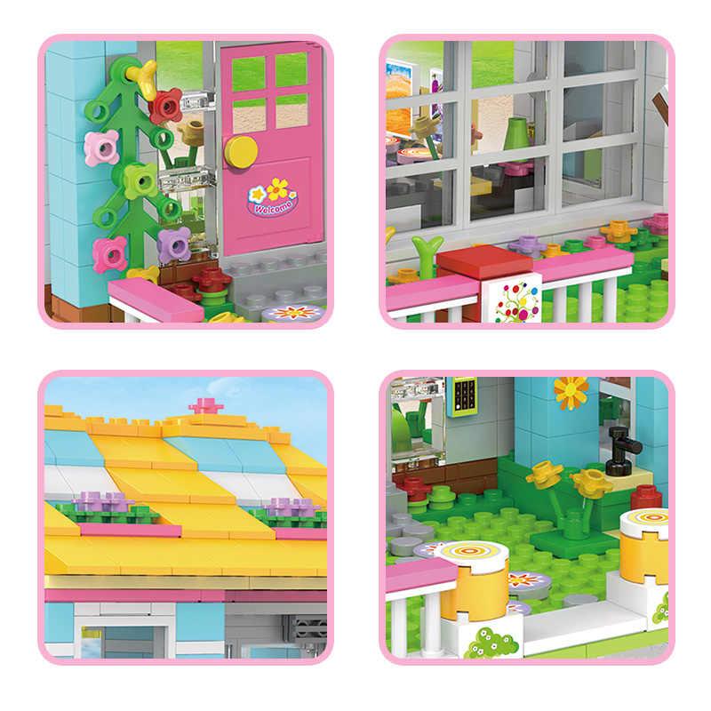1049pcs משפחת בית חבר המפלגה Duploed משפחה סדרת בניין בניית צעצוע לילדים מונטסורי חינוך