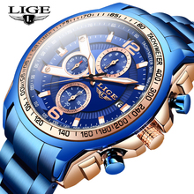Mens Watches LIGE Stainless Steel Fashion WristWatch for