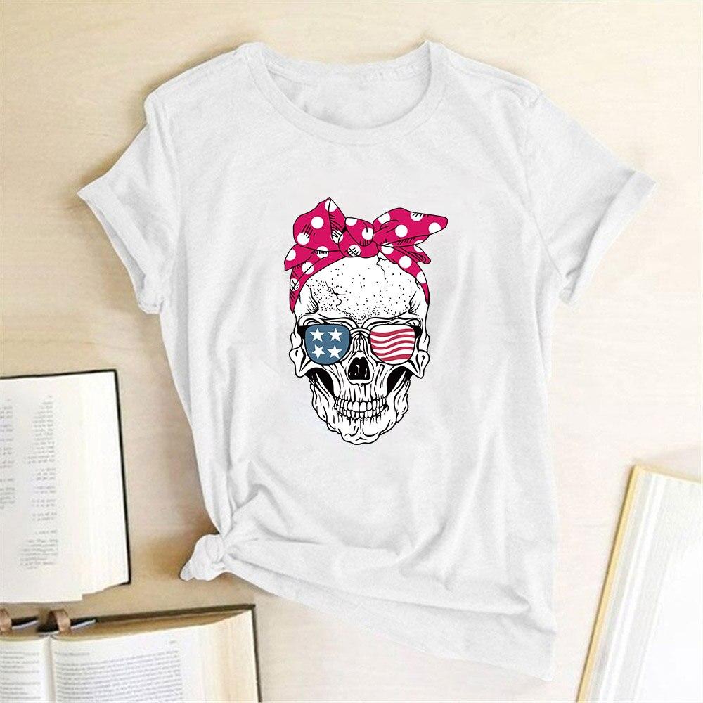 Hillbilly śmieszna czaszka Punk T koszula kobiety moda na co dzień z krótkim rękawem słoneczniki koszulki koszulka Femme topy Mujer Verano 2019 5