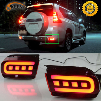 2pc For Toyota Land Cruiser Prado 150 FJ150 LC150 2010-2019 Rear Bumper LED Tail Light Driving Lamp Turn Signal Lamp Accessories