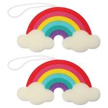2pcs Colorful Rainbow Cartoon Kids Sponge Brushes Shower Sponge Bath Sponge Bath Brush