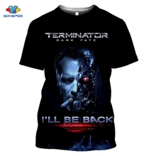 SONSPEE Movie Terminator T-Shirt T800 Dark Fate 3d Print Gym Men's T-Shirt Joker Skull Tshirt Summer Harajuku Style Tee Top Pull