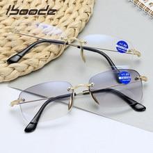 Iboode occhiali da lettura bifocali senza cornice per uomo donna occhiali da vista Anti Blu a doppio uso lenti ottiche grigie e bianche Hyperoia 1.5