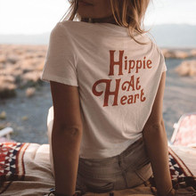 Hippie at Heart Printed On the Back Aesthetic Shirt For Women White Cotton Short Sleeve Casual Tops Loose Vintage Graphic Tees