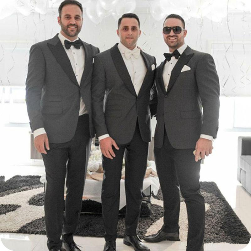 Formal Blazers For Party Birthday Prom Gray Jacket + Black Pants Slim Fit Groom Wedding Suits Outfits Lapel Men's Tuxedos
