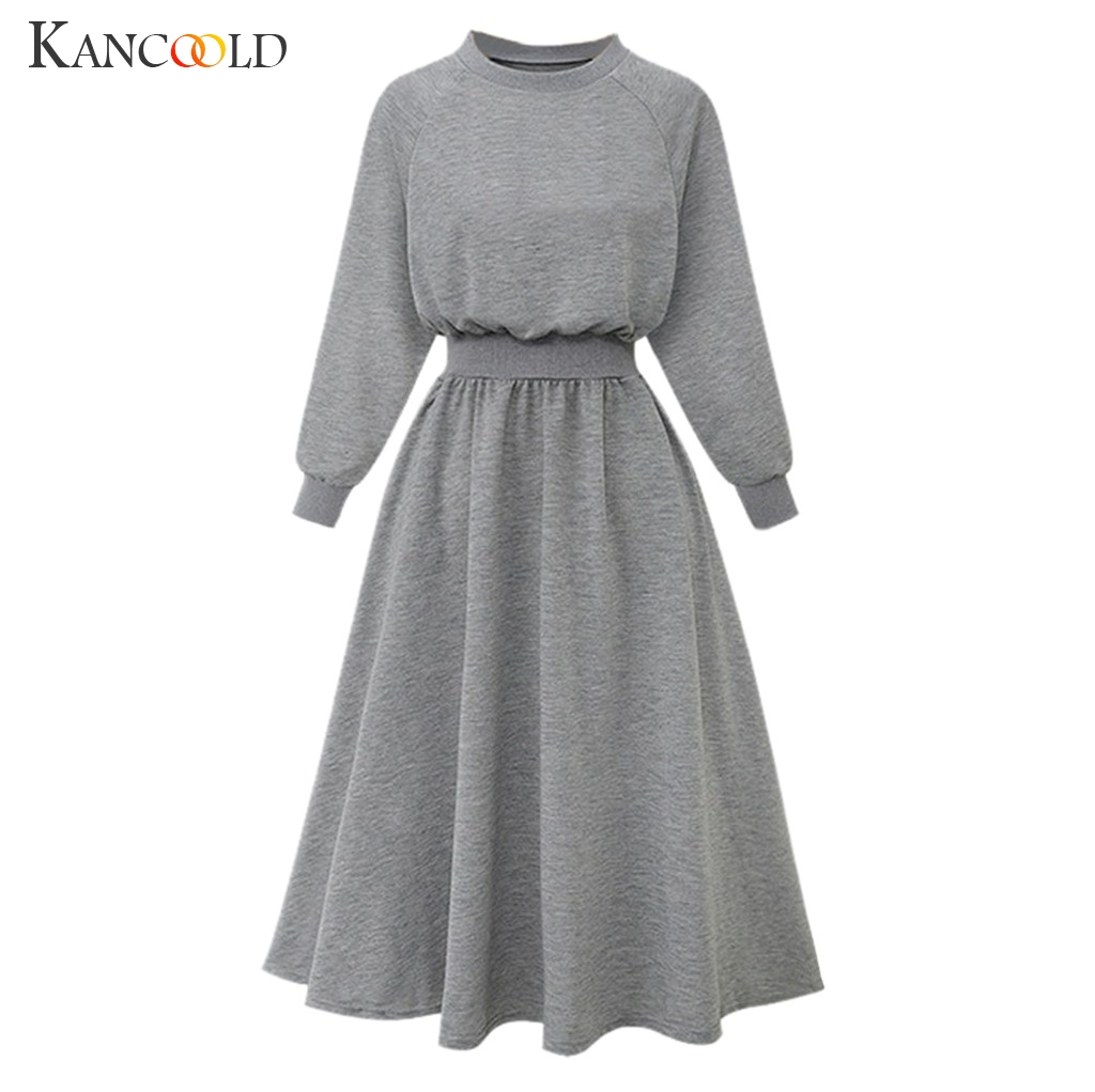 KANCOOLD 2019 New Korean Belted Cashmere Sweater Dress Women Fashion Office Lady O Neck Knitted Dress Winter Warm Thick