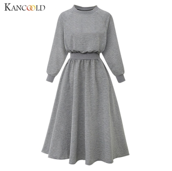 KANCOOLD 2019 New Korean Belted Cashmere Sweater Dress Women Fashion Office Lady O Neck Knitted Dress Winter Warm Thick surplice gingham belted dress