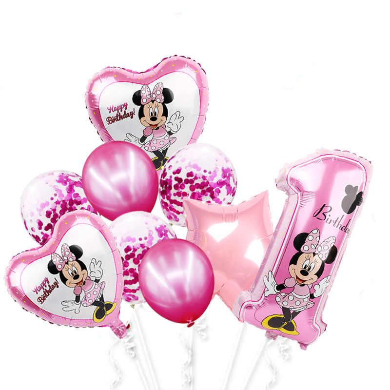 Minnie Mouse Folie Ballonnen Mickey 1st Verjaardagsfeestje Decoraties Kinderen Ballon Nummer 1 Globos Baby Shower Confetti Latex Bal Speelgoed