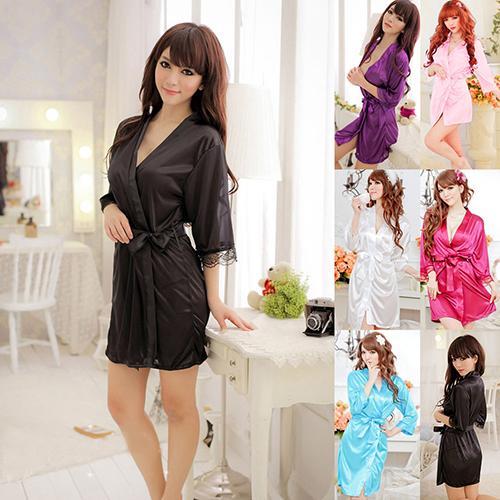 Women Sexy Fantastic Nightdress Lace Sleepwear Bathrobe Gown Robe + G-String