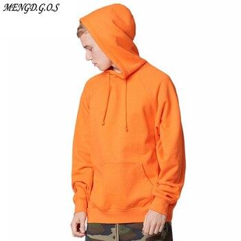 2017 fashion color orange hooides mens thick clothes winter sweatshirts men Hip Hop Streetwear solid fleece hoody man Clothing