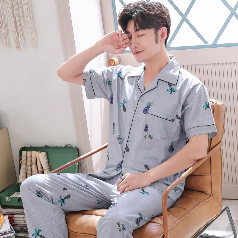 Pajamas Men Summer Knitted Cotton Short Sleeve Men Trousers Tracksuit Summer Thin Cotton Large Size Set 3878