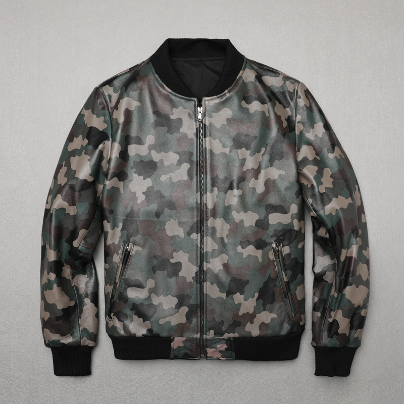 Factory 2019 Cheap Sales Men Genuine Leather Jacket Real Sheepskin Camouflage Baseball Jackets Free Shipping