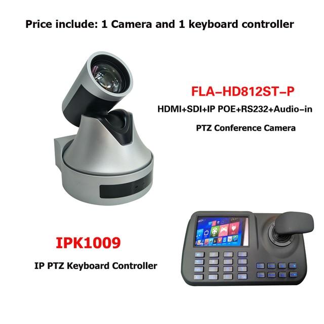 1080P 12x زووم بصري فيديو عبر الإنترنت مؤتمر نظام بث مباشر IP POE كاميرا متحركة زائد RJ45 Onvif وحدة تحكم بلوحة مفاتيح
