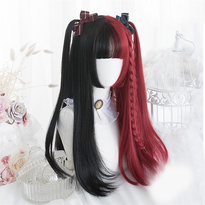 Косплей-салон Лолита 30 см/65 см, черный, смешанный, красный, Омбре, длинный, кудрявый, прямой, Боб, челка, Хэллоуин, Синтетический Косплей парик