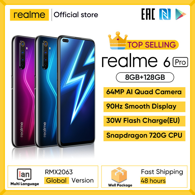Realme 6 Pro Mobile Phone 6.6inch 90Hz Display 64MP Camra 8GB 128GB Snapdragon 720G Smartphone 4300mAh Battery 30W Flash Charge 1
