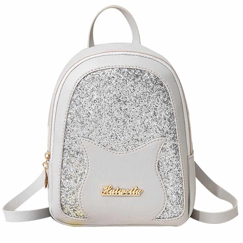 ผู้หญิงกระเป๋าเป้สะพายหลังแมวน่ารักสาวการ์ตูนสำหรับผู้หญิง Back Pack กระเป๋าไนลอน Famale วัยรุ่นกระเป๋า Messenger กระเป๋า