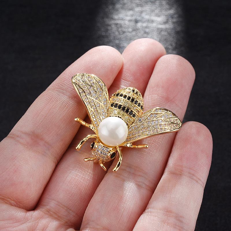 Embroidered beetle pin Insect butterfly brooch Pearl Gold bee brooch Beaded bug brooch