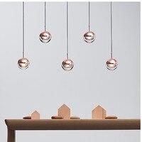 Nordic Design Rose Gold Glas Ball Anhänger Licht Kreative Design Gang Wohnzimmer Nacht Abendessen Decro Led Leuchten-in Pendelleuchten aus Licht & Beleuchtung bei