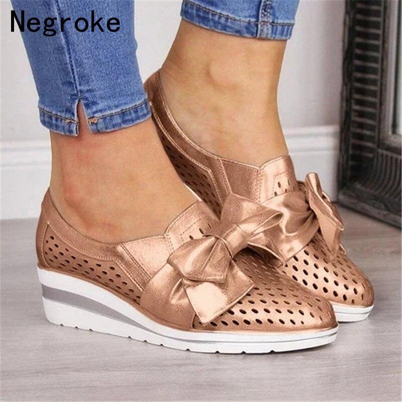 2020 New Women Sneakers Casual Wedges Platform Vulcanize Shoes Woman Cutouts Slip On Flats Moccasins Tenis Feminino Dropship
