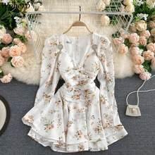 Woherb Elegante-Vestido corto de manga larga para verano, minivestido Elegante con estampado de flores para mujer, cuello en V, blanco suave, 2021
