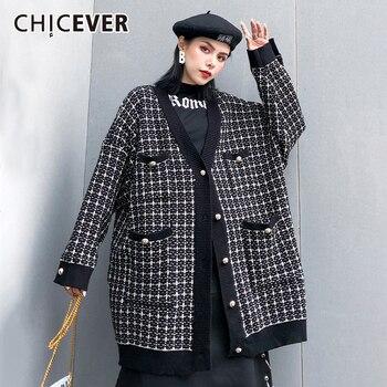 CHICEVER, винтажный клетчатый хит, цветной свитер для женщин, v-образный вырез, длинный рукав, большой размер, свободный, толстый, вязаный, кардиг...
