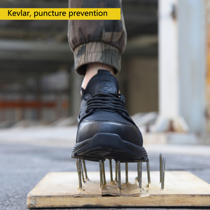 Image 2 - New winter solid safety shoes steel head anti smashing stab resistant work shoes breathable protection toe