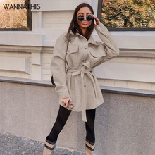 Outwear Coat Jacket Long-Sleeve Winter Women Loose Casual Warm Wannathis Sashes Shirt