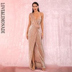 LIEFDE & LIMONADE Sexy Rose Gold V-hals Whit Split Pailletten Party Maxi Jurk LM81849 Herfst/Winter
