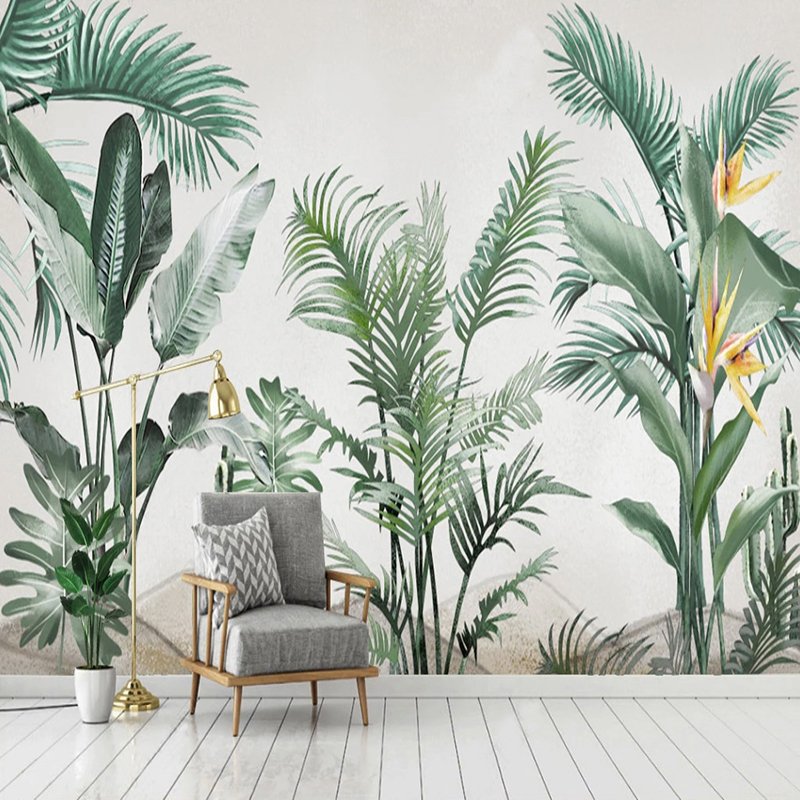Custom Mural Wallpaper 3D Tropical Plants Green Leaves Wall Painting Living Room TV Sofa Abstract Art Home Decor Wall Papers 3 D