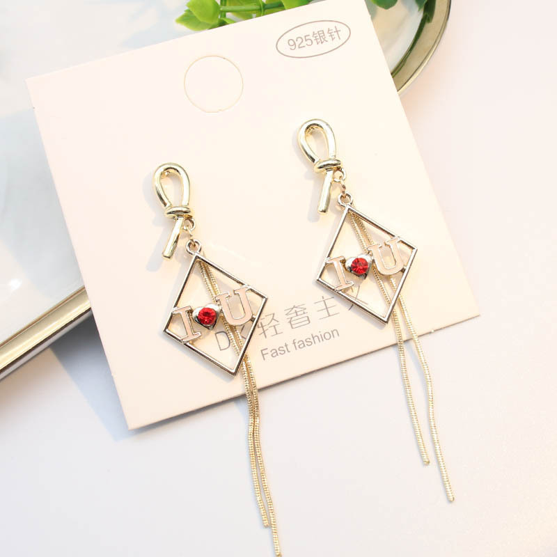 New Tassel Female Earring Square Fashion Bohemia Confession Girls Gift Gold Color Dangle Jewelry Elegant Ethnic Pendientes EF56
