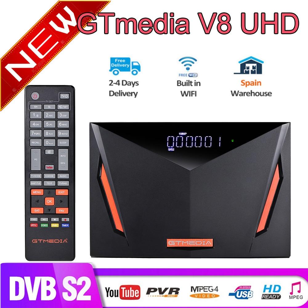 NEW Gtmedia V8 UHD DVB-S2 satellite tv receiver Built in wifi Powered by Gtmedia V8 NOVA upgrade receptor freesat v8 UHD