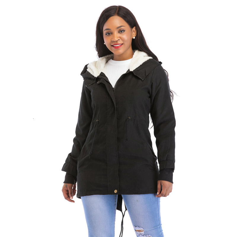 RICORIT Women Down Cotton Jacket Thicken Long Sleeve Hooded Coat Cotton-padded Clothes Women Fashion Jacket Coat Outwear