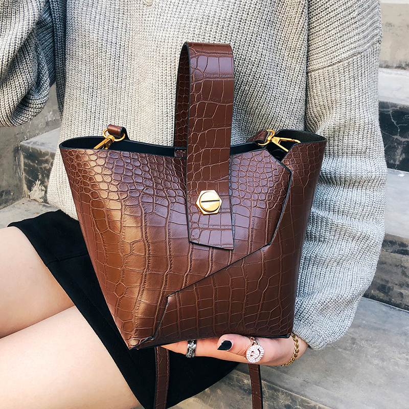 Vintage Alligator Buckets Bag Designer Women Handbags Luxury Pu Leather Shoulder Crossbody Bag Large Capacity Totes Casual Purse image