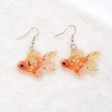 Lindo vintage boêmio goldfish gota brincos para mulheres meninas próprio design ins estilo boa sorte koi peixe animal balançar brincos