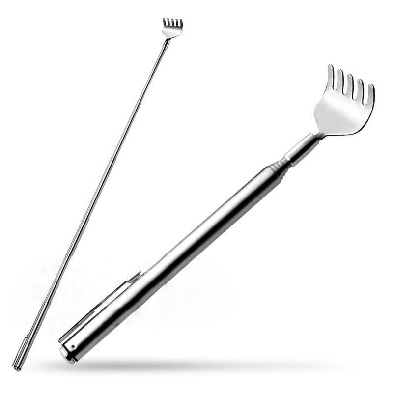 1pcs Stainless Steel Telescopic Back Scratcher Telescopic Pen Clip Portable Back Scratcher Itch Massage Tool