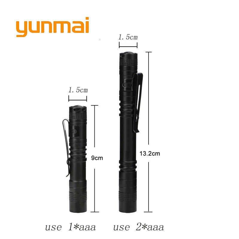 Yunmai impermeable nuevo Q5 linterna LED de alta potencia Penlight LM Mini Spot aaa lámpara portátil de trabajo equipo de Camping antorcha