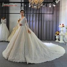 Szata mariage gelinlik suknie ślubne z długimi rękawami elegancka ślubna sukienka