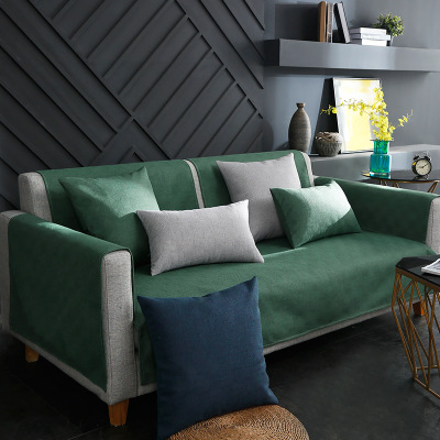 Solid color non slip sofa cushion  European style winter cushion simple and modern back cover towel Sofa Cover     - title=