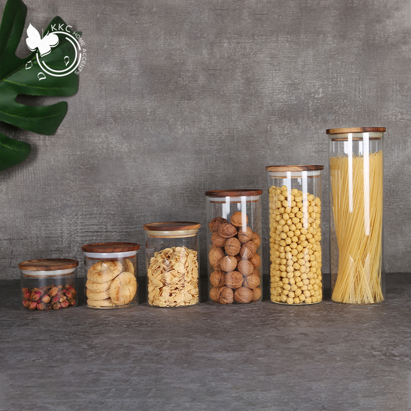KKC HOME Glass Storage Jars Natural High Grade Acacia Wooden Lid Borosilicate Glass Jar Coffee Bean Candy Kitchen Food Container