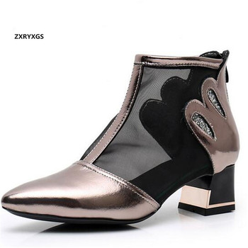 Promotion Pointed top cowhide mesh cool boots summer leather sandals 2020 new fashion women sandal shoes high heeled sandals