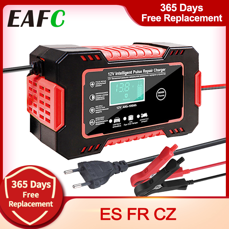 EAFC Full Automatic Car Battery Charger 12V Digital Display Battery Charger Power Puls Repair Chargers Wet Dry Lead Acid
