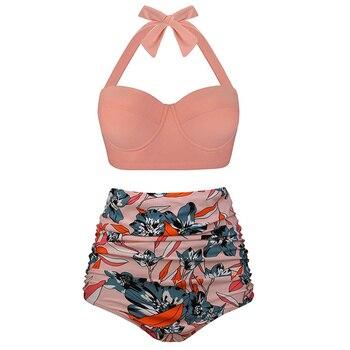 Women Swimsuit Bandeau polka dot swimsuit vintage Plus Size Swimwear Push Up Bathing Suits Thong Bikini High Waist Bikini plus size floral high waisted bandeau bikini set
