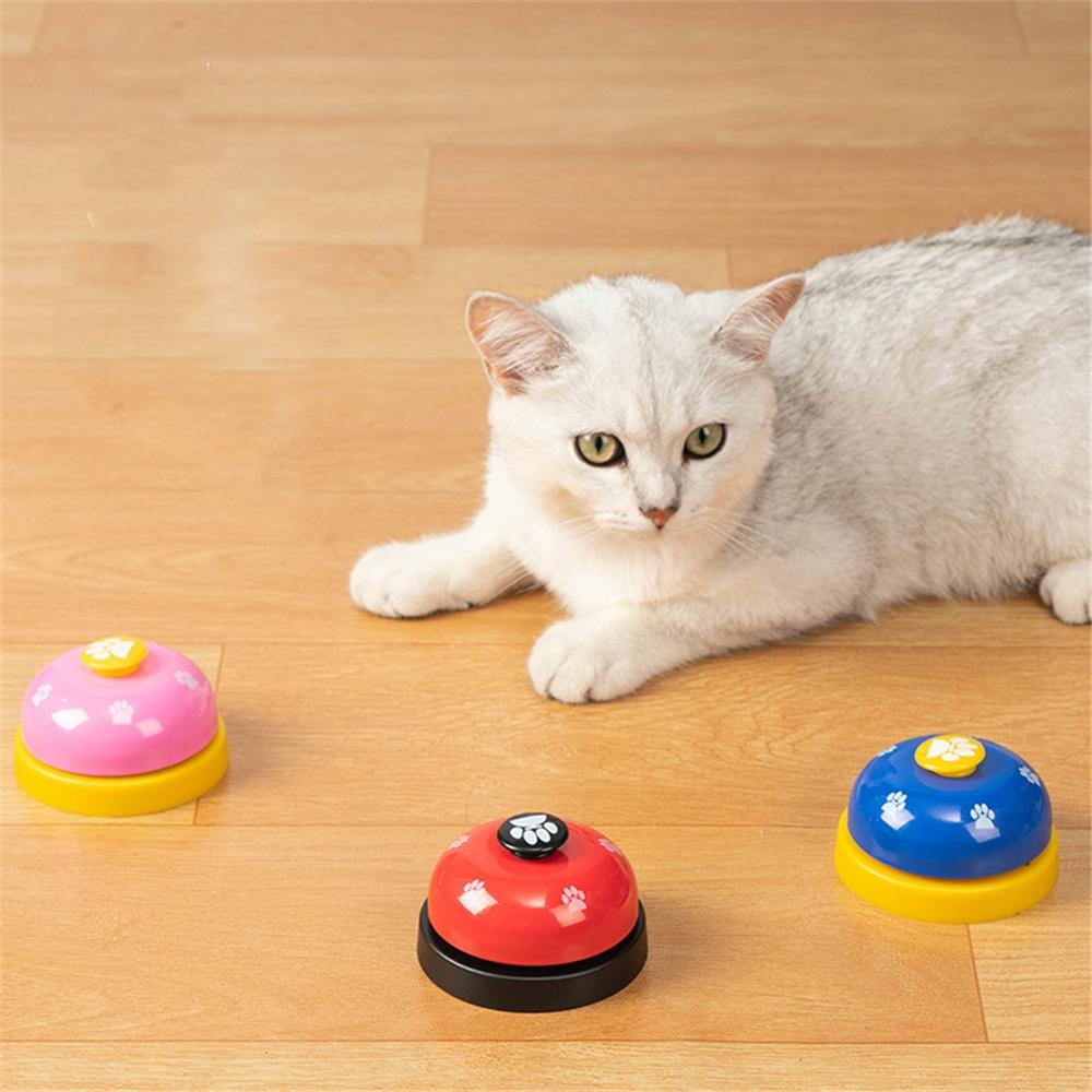 Pet IQ Training Bell Cute Printed Cat Dog Practical Training Bells Pets Communication Device Puppy Called Dinner Reminder Feeder-2