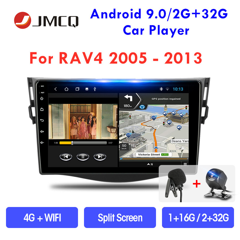 JMCQ 9 Android 9.0 Car Radio For Toyota RAV4 2005-2013 Wifi Multimedia Video Player 2 din Stereo Split Screen Floating window image