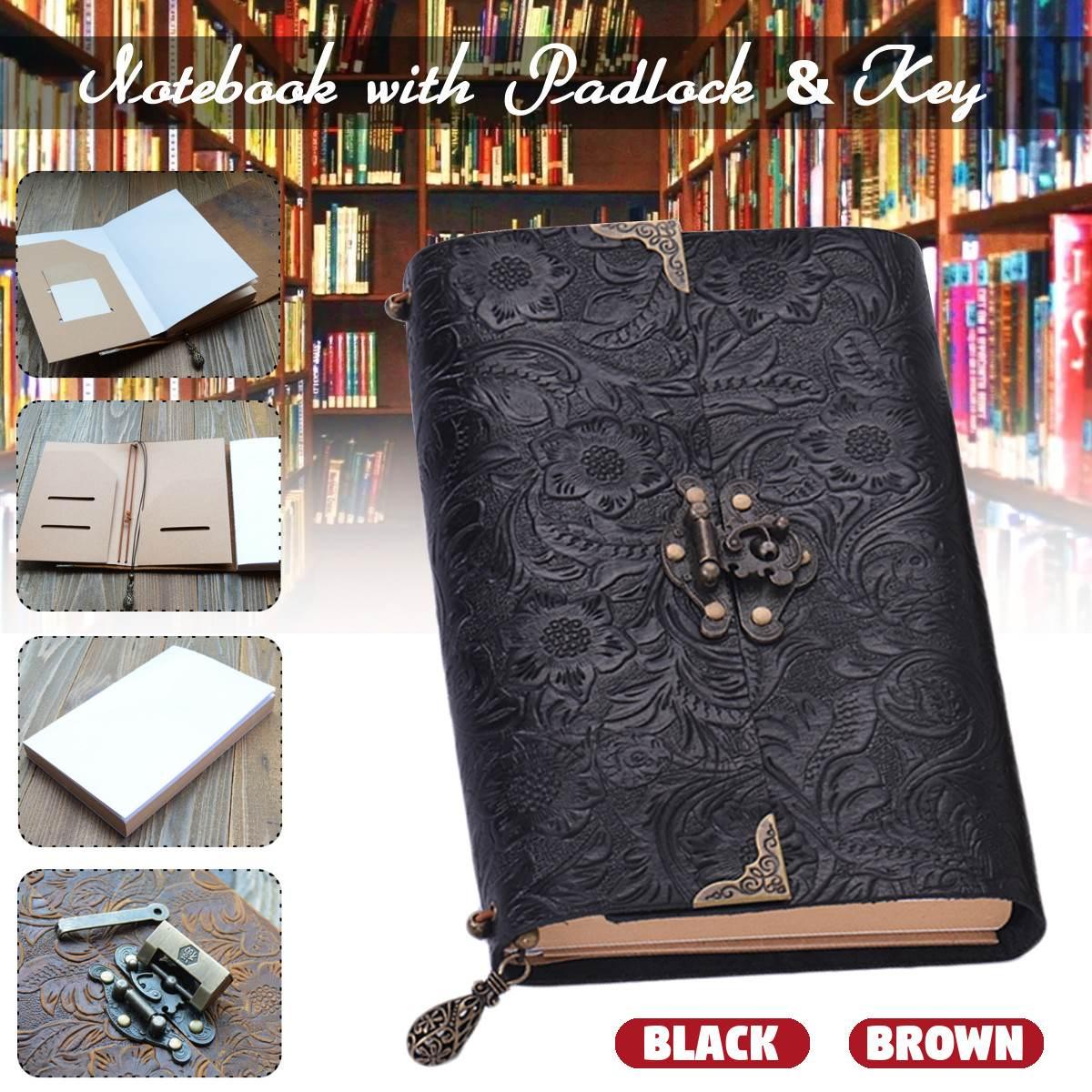 Padrão em relevo Couro Macio Caderno de Viagem com cadeado e Chave Esboçar Diário Notepad Papel Kraft para Business & Escrita