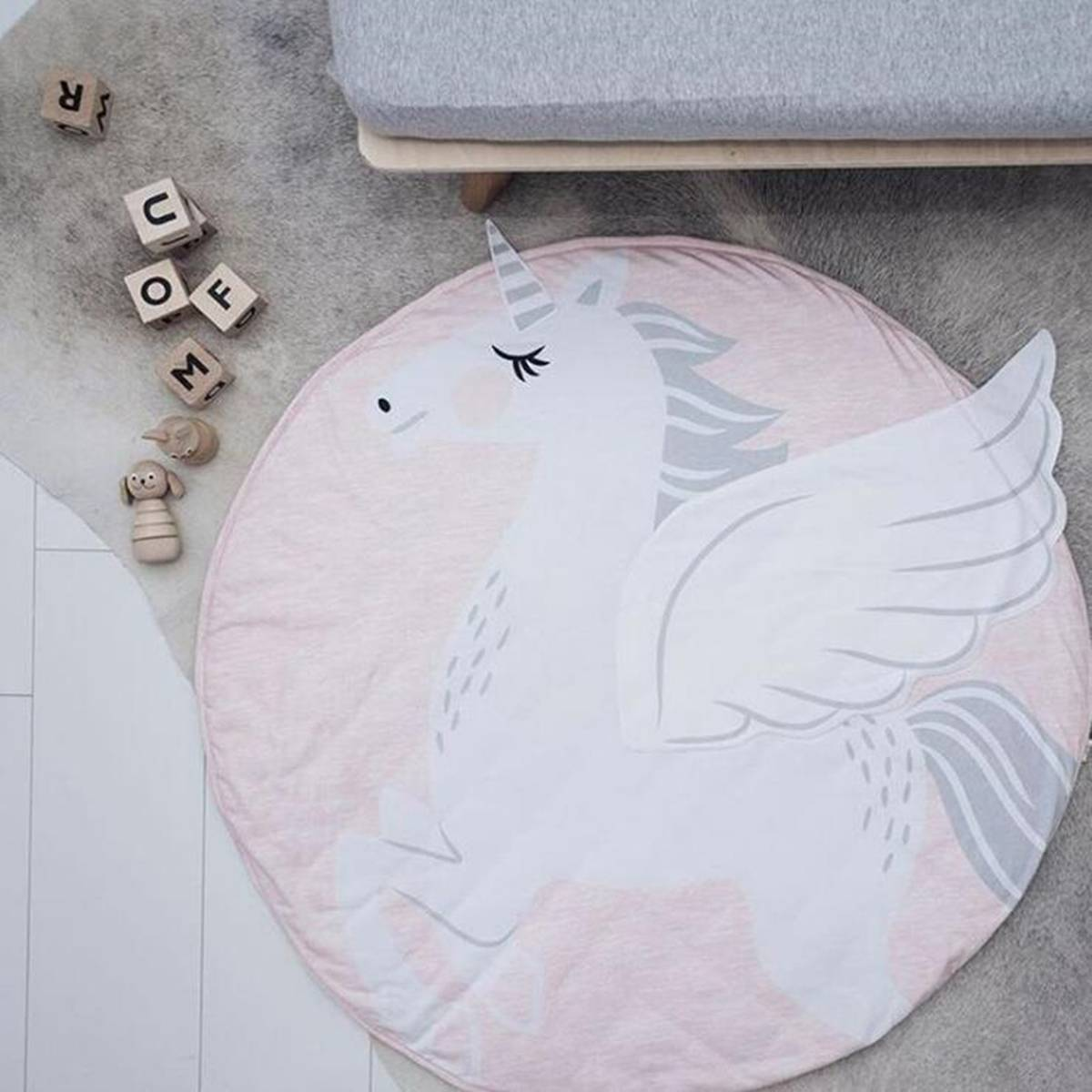 Baby Cartoon Lovely Animal Pattern Play Mats Crawling Blanket Kids Game Play Mat Padded Carpet Floor Rug Nordic Style 95x95cm